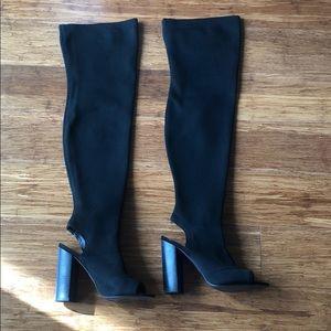 Steve Madden Thigh-High Perp Toe Sock Boot